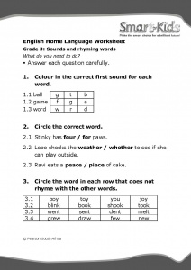 Grade 3 English Worksheet: Sounds and rhyming words