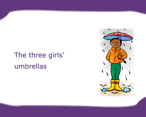 The three girls' umbrellas