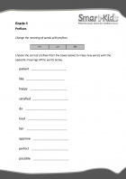 Grade 4 English Worksheet: Prefixes