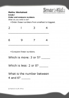 Grade 1 Maths Worksheet: Order and compare numbers