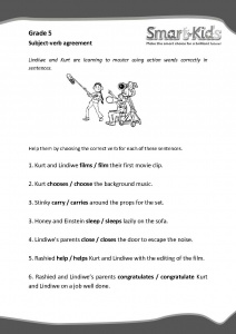 Grade 5 English Worksheet Subject Verb Agreement Smartkids