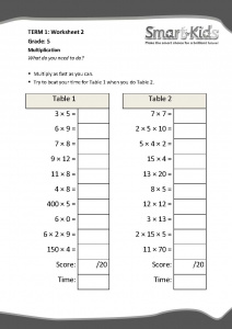 Grade 5 Maths Worksheet: Multiplication | Smartkids