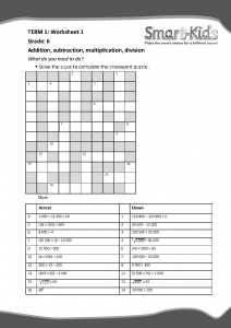 Grade 6 Maths Worksheet: The four operations